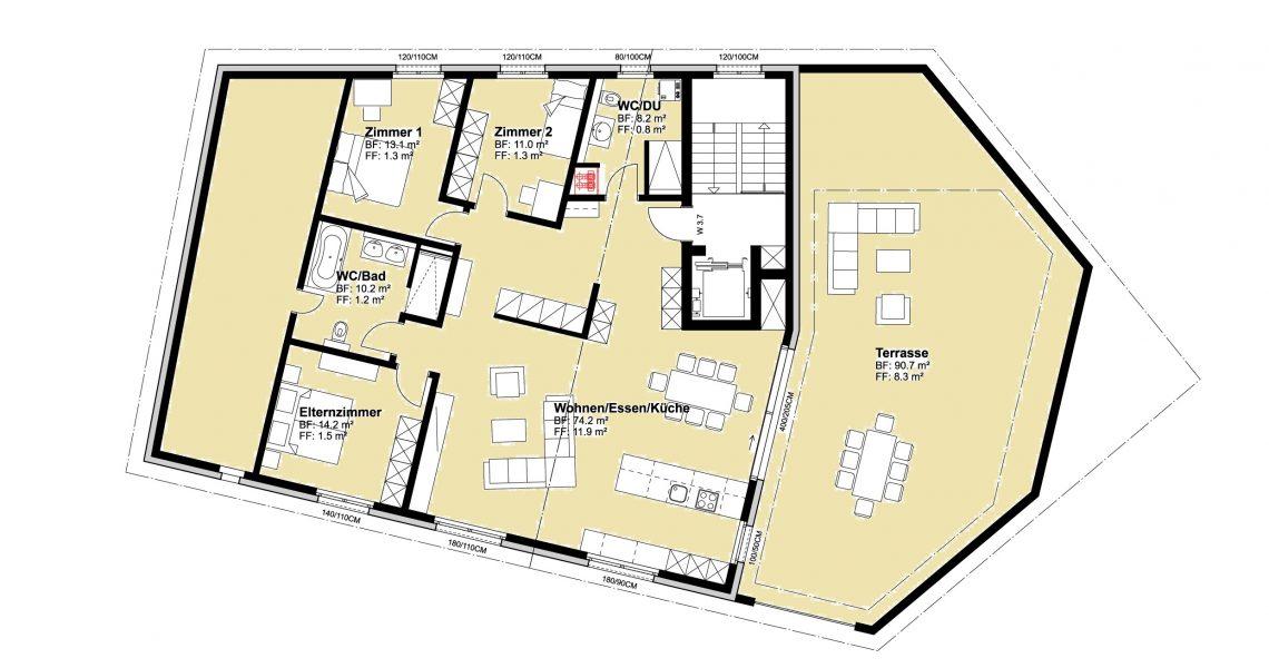 DG 4.5 Zimmerwohnung 3.7 H1